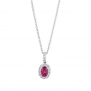 Ruby and Diamond cluster pendant 001