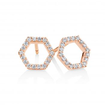 Hexagonal diamond earrings 001