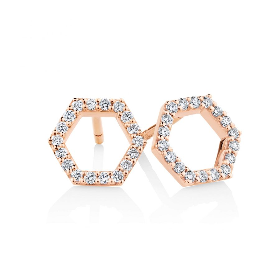 Hexagonal diamond earrings 001